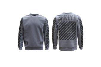 New Unisex Pullover Fleece Lined Jumper Mens Long Sleeve Crew Neck Sweater White - Grey