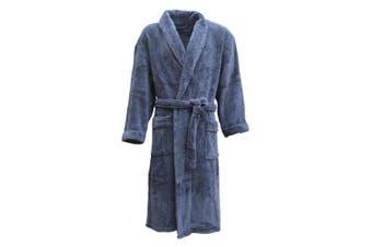 New Men's Women's Supersoft Luxurious Coral Fleece Bath Robe Dressing Gown Warm - Blue - Blue