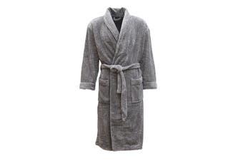 New Men's Women's Supersoft Luxurious Coral Fleece Bath Robe Dressing Gown Warm - Grey - Grey