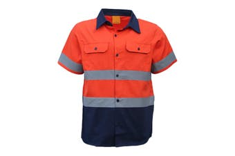 New 100% Cotton HI VIS Safety Short Sleeve Drill Shirt Workwear w Reflective Tap - Orange - Orange