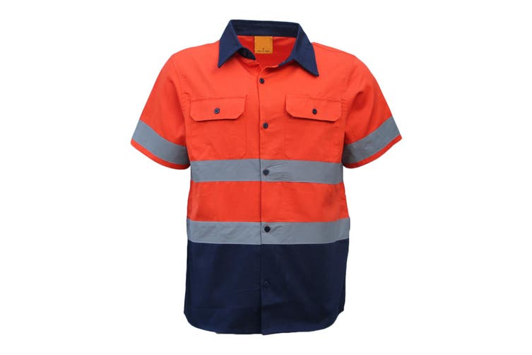 New 100% Cotton HI VIS Safety Short Sleeve Drill Shirt Workwear w Reflective Tap - Orange (Size:2XL)