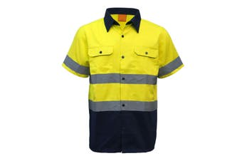 New 100% Cotton HI VIS Safety Short Sleeve Drill Shirt Workwear w Reflective Tap - Yellow - Yellow