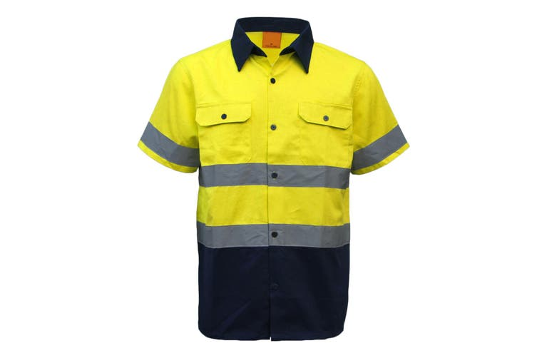 New 100% Cotton HI VIS Safety Short Sleeve Drill Shirt Workwear w Reflective Tap - Yellow (Size:L)