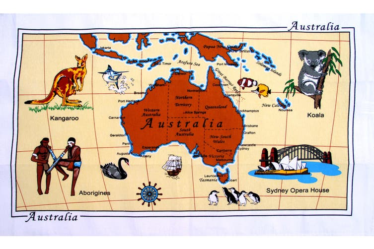 New Cotton Australia Kitchen Tea Towels Linen Teatowels Dish Cloth Souvenir Gift - Australian Map