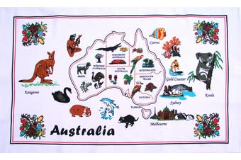 New Cotton Australia Kitchen Tea Towels Linen Teatowels Dish Cloth Souvenir Gift - Australia Animals Map D