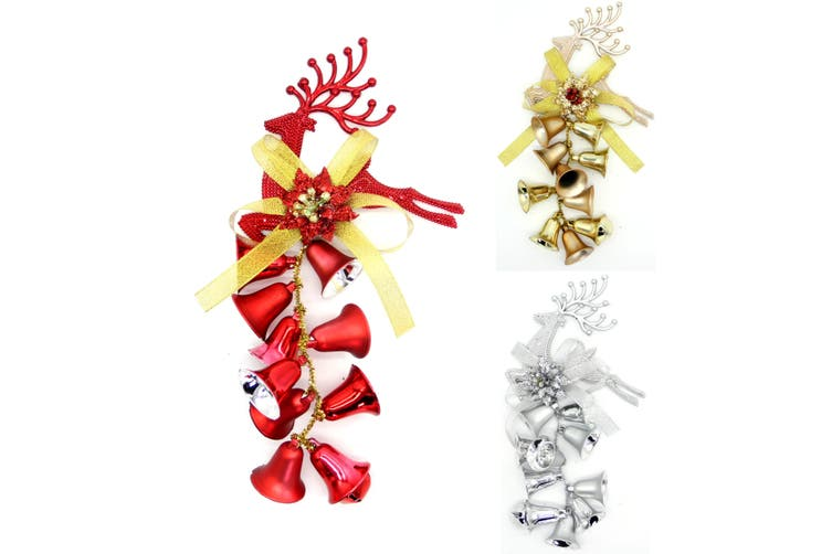 3x New Christmas Reindeer Bells Xmas Hanging Tree Wall Ornament Party Home Décor