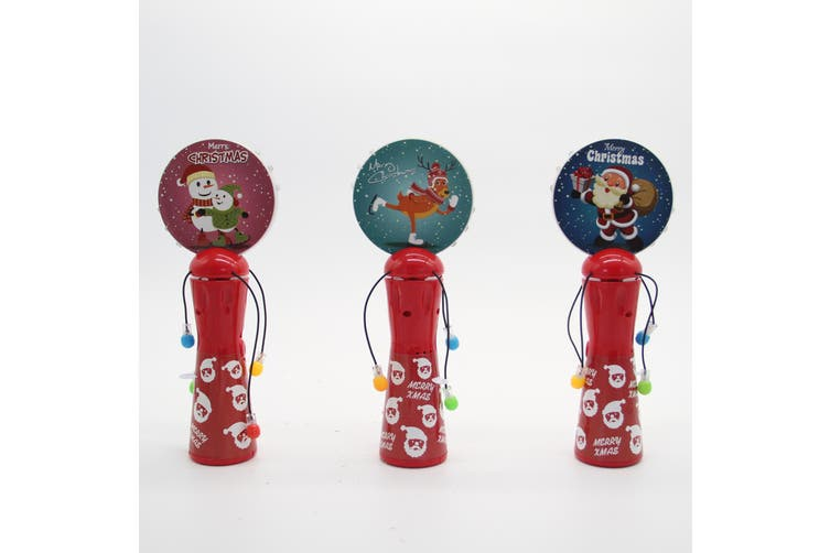 Christmas LED Light Up Hand Shaking Spinner Wand Rattle Drum Xmas Kids Toy Gift - Reindeer