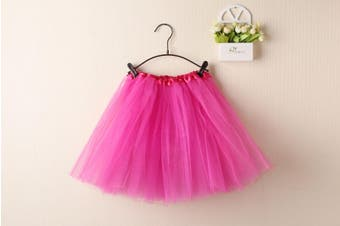 New Adults Tulle Tutu Skirt Dressup Party Costume Ballet Womens Girls Dance Wear - Hot Pink (Size:Kids)