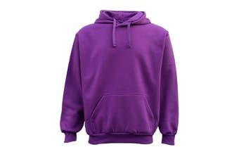 Adult Unisex Men's Plain Basic Pullover Hoodie Sweater Sweatshirt Jumper XS-5XL - Purple - Purple