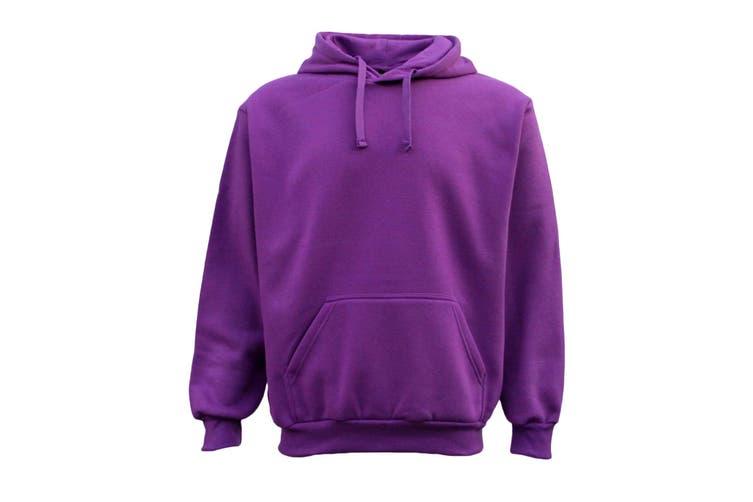 Adult Unisex Men's Plain Basic Pullover Hoodie Sweater Sweatshirt Jumper XS-5XL - Purple (Size:M)