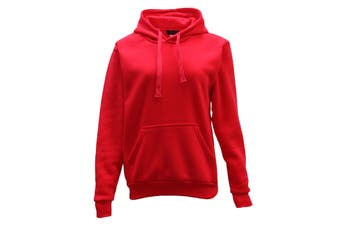 Adult Unisex Men's Plain Basic Pullover Hoodie Sweater Sweatshirt Jumper XS-5XL - Red - Red
