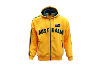 New Adults Australia Day Zip Up Hoodie Jacket w Flag Souvenir Jumper Sports Coat - Gold (Size:M)