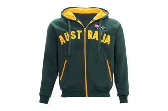 New Adults Australia Day Zip Up Hoodie Jacket w Flag Souvenir Jumper Sports Coat - Bottle Green (Size:S)