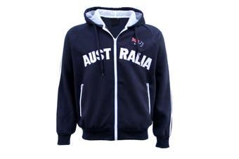 New Adults Australia Day Zip Up Hoodie Jacket w Flag Souvenir Jumper Sports Coat - Navy (Size:XL)