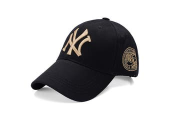NEW Unisex New York NY Yankees Baseball Mens Women Hat Sport Snapback Cap Cotton - Black w Gold Embroidery