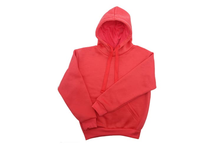 Kids Unisex Basic Pullover Hoodie Jumper School Uniform Plain Casual Sweat Shirt - Pink (Size:6)