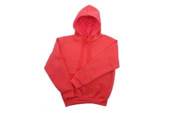 Kids Unisex Basic Pullover Hoodie Jumper School Uniform Plain Casual Sweat Shirt - Pink (Size:12)