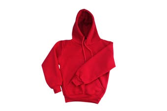 Kids Unisex Basic Pullover Hoodie Jumper School Uniform Plain Casual Sweat Shirt - Red - Red