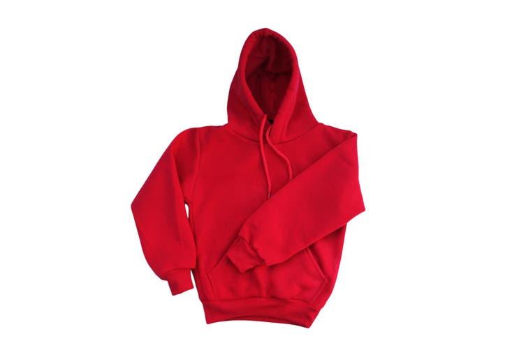 Kids Unisex Basic Pullover Hoodie Jumper School Uniform Plain Casual Sweat Shirt - Red (Size:16)