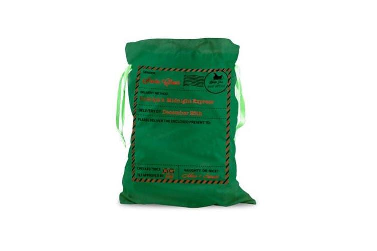 Large Christmas XMAS Hessian Santa Sack Stocking Bag Reindeer Children Gifts Bag - Green - Santa Mail
