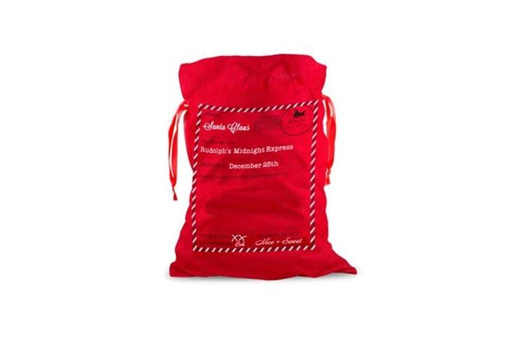 Large Christmas XMAS Hessian Santa Sack Stocking Bag Reindeer Children Gifts Bag - Red - Santa Mail