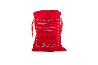 50x70cm Canvas Hessian Christmas Santa Sack Xmas Stocking Reindeer Kids Gift Bag - Red - Santa Mail