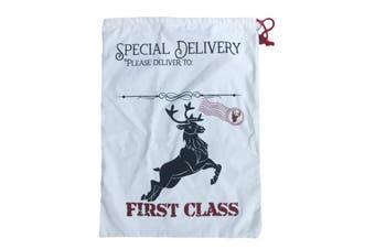 50x70cm Canvas Hessian Christmas Santa Sack Xmas Stocking Reindeer Kids Gift Bag - Cream - Reindeer First Class