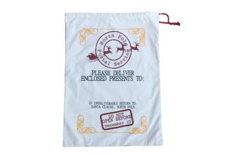 50x70cm Canvas Hessian Christmas Santa Sack Xmas Stocking Reindeer Kids Gift Bag - Cream - North Pole Postal Service