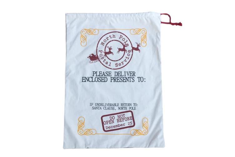 Large Christmas XMAS Hessian Santa Sack Stocking Bag Reindeer Children Gifts Bag - Cream - North Pole Postal Service