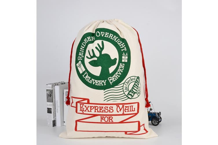Large Christmas XMAS Hessian Santa Sack Stocking Bag Reindeer Children Gifts Bag - Cream - Reindeer Overnight