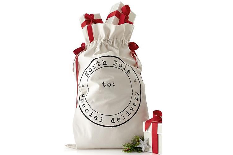 50x70cm Canvas Hessian Christmas Santa Sack Xmas Stocking Reindeer Kids Gift Bag - Cream - North Pole Postal