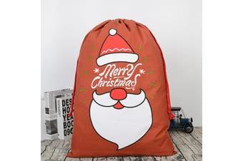 Christmas Canvas Hessian Santa Reindeer Sack Xmas Stocking Kids Gift Bag Storage - Merry Christmas - Santa