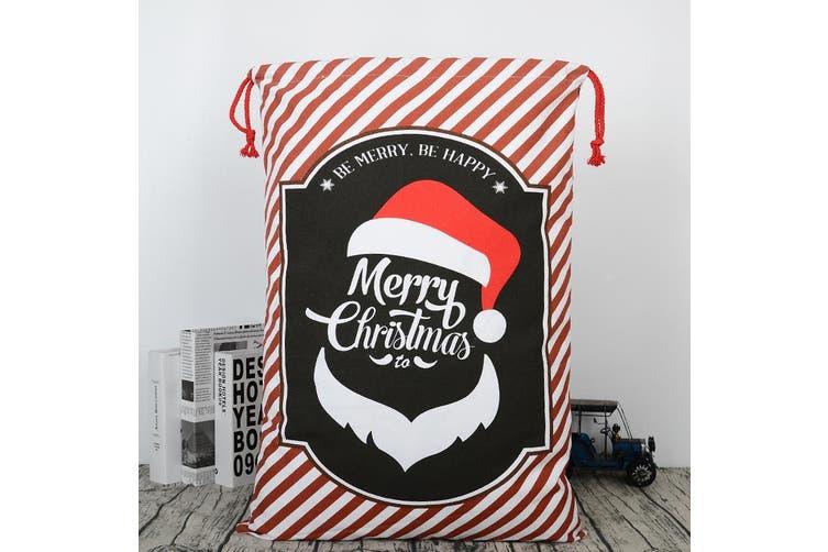 Christmas Canvas Hessian Santa Reindeer Sack Xmas Stocking Kids Gift Bag Storage - Merry Christmas - Santa B