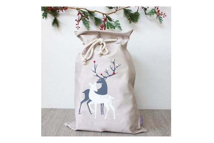 Christmas Canvas Hessian Santa Reindeer Sack Xmas Stocking Kids Gift Bag Storage - Two Reindeers (Cream)
