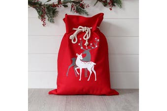 Christmas Canvas Hessian Santa Reindeer Sack Xmas Stocking Kids Gift Bag Storage - Two Reindeers (Red)
