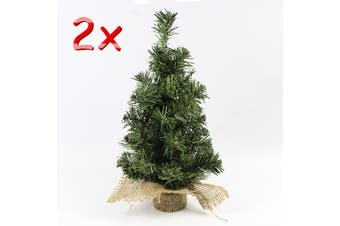 2x 30cm Christmas Shrub Natural Pine Green Mini Tree Xmas Table Desk Top Décor