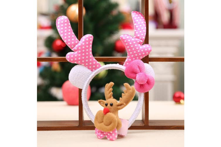 Set Of 2 - Christmas Head + Clap Wrist Band Xmas Costume Hair Clip Reindeer Gift - Pink