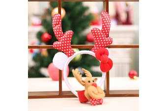 Set Of 2 - Christmas Head + Clap Wrist Band Xmas Costume Hair Clip Reindeer Gift - Red