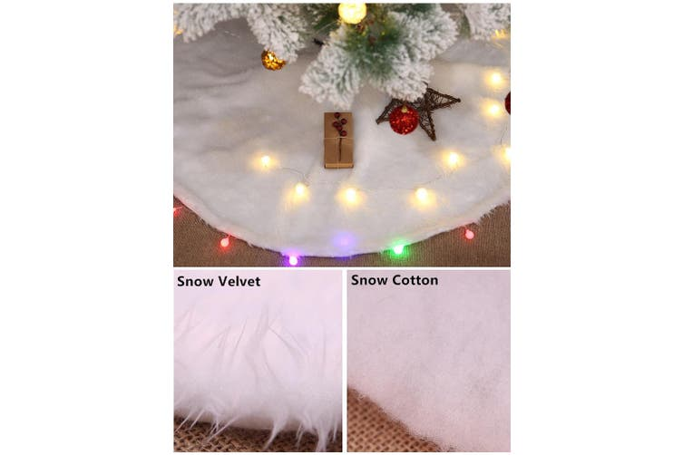 "60/78/90/122cm Christmas Snow Plush Tree Skirt Xmas Decor Base Floor Mat Cover (Size:90cm (35.4""))"