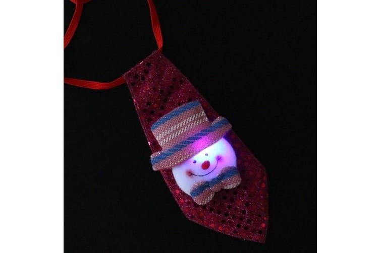 Christmas LED LightUp Flashing Sequins Tie Santa Snowman Reindeer Xmas Kids Gift - Snowman