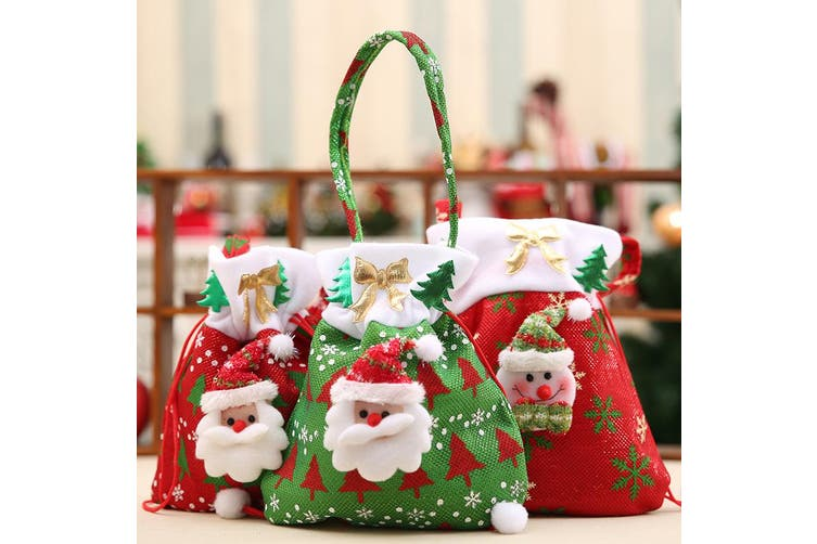3x Christmas Treat Candy Party Plush Felt Bags Holder Xmas Santa Decor Kids Gift