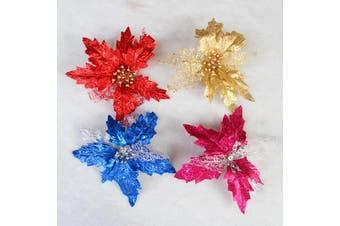4x 18cm New Christmas Poinsettia Glitter Artificial Flower Picks Xmas Décor Gift