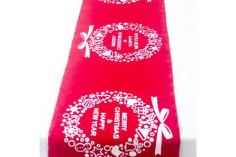Christmas Burlap Hessian Roll Table Runner Home Dining Party Xmas Decor 28x270cm - Red - Christmas Wreaths