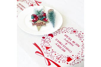 Christmas Burlap Hessian Roll Table Runner Home Dining Party Xmas Decor 28x270cm - White - Christmas Wreaths