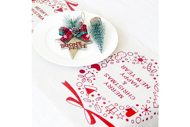 Christmas Burlap Hessian Roll Table Runner Home Dining Party Xmas Decor 28x270cm - White - Christmas Wreaths
