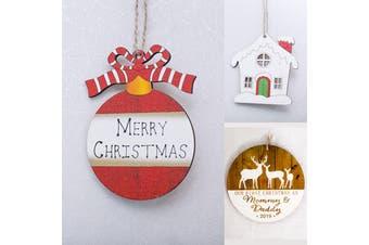 3x Christmas Wooden Plaque Tree Pendants Hanging Décor Home Xmas Ornaments Craft