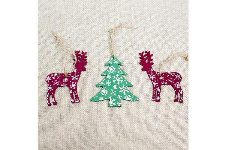 6x New Christmas Wooden Tree Pendants Hanging Ornaments Home Décor Xmas Reindeer