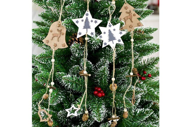 New Christmas Wooden Tree Pendants Hanging Ornaments w Pine Cone Home Xmas Décor