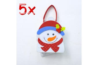 3/5pcs Christmas Felt Gift Bags Wrap Treat Candy Holder Xmas Party Favour Santa - 5x Snowman