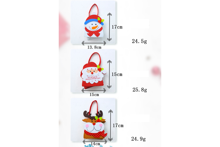 3/5pcs Christmas Felt Gift Bags Wrap Treat Candy Holder Xmas Party Favour Santa - 5x Reindeers